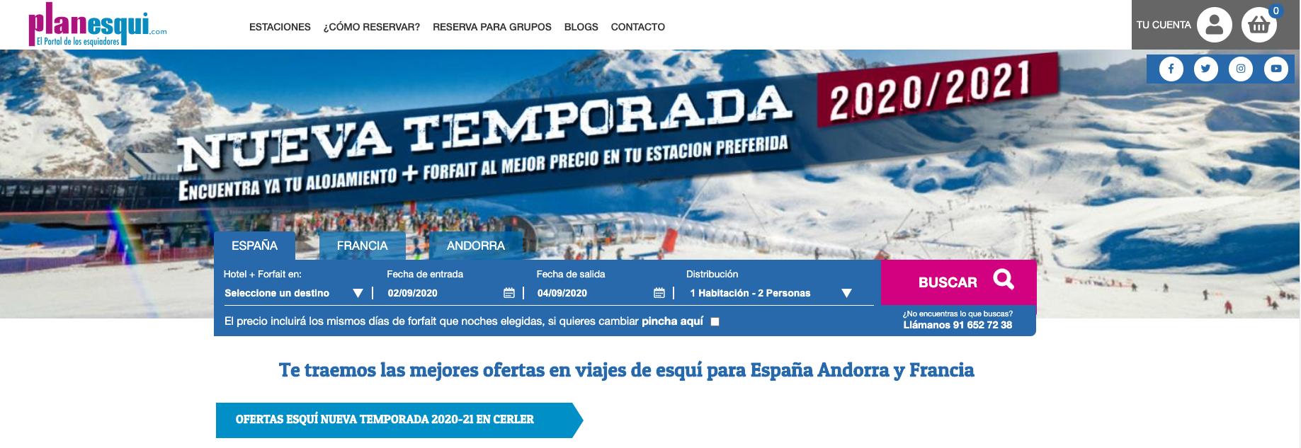 Las mejores ofertas de esquí las tienes online: planesqui.com